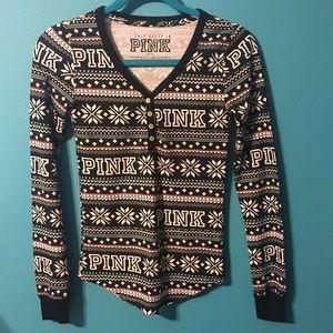 Pink thermal pajama top, Henley fair isle print